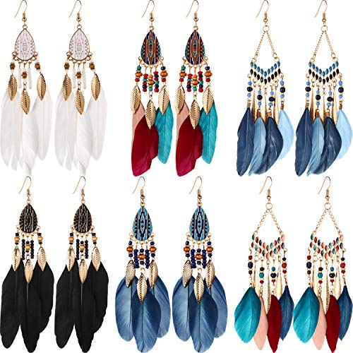 6 Pairs Women Faux Feather Earrings Bohemian Fringe Tassel Long Drop Dangle Earrings Set with Dream Catcher Design for Women Girls