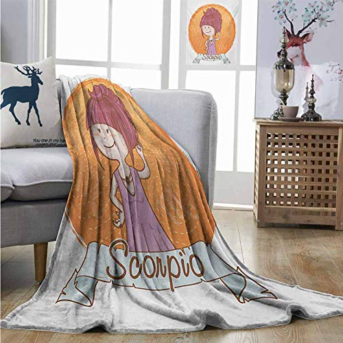Digital Printing Blanket Zodiac Scorpio Cartoon Style Illustration of a Girl with a Scorpion Tail Hairdo for Kids Throw Blanket W51 xL60 Multicolor