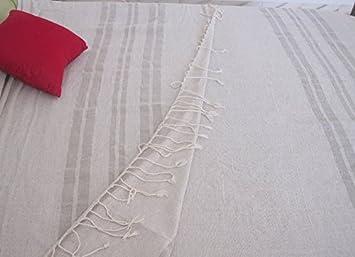 Lámpara de lino manta de tamaño grande de la Polinesia francesa colcha, a lino puro y Seda de rayas 2 m x 2,8 m: Amazon.es: Hogar