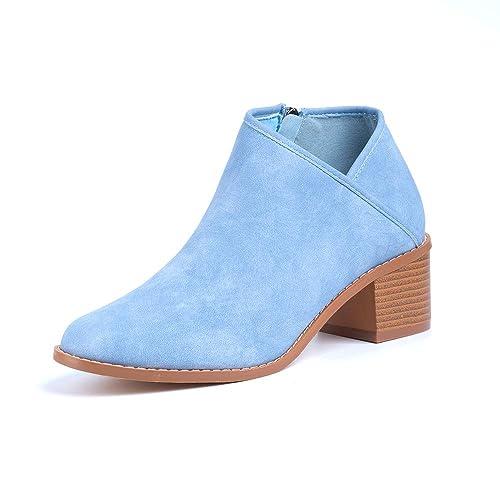 Botines Mujer Tacon Medio Invierno Planos Tacon Ancho Piel Botas Botita Moda 5cm Casual Planas Zapatos Calzado Caqui Azul Marrón 35 43 EU