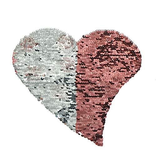 - Patches - 2019 Love Heart Reversible Change Color Sequins Sew On Patches Patch Applique Bag Clothing Coat - Crown Gift Crane Best Applique Cloth Diamond Flower Wall Decor Word Sequin Logo Embr