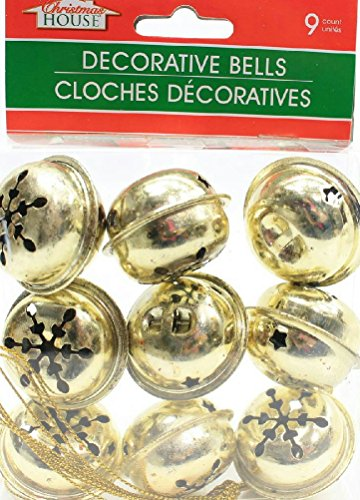 (Pack of 2) 9 Large Christmas House Aged Finish Snowflake Cutout Jingle Bells (Gold) ()