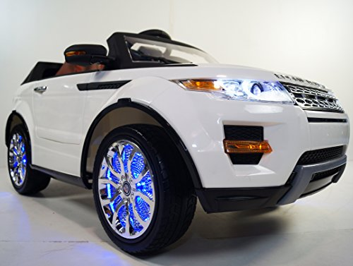 Ride on car LAND ROVER power wheels Range Rover white for children electric car jeep. OPENING DOORS! 12V BATTERY TOTAL! Leather seat! Girl and Boy 2 to 7 years! remote control! - Girls Power Wheels Two Seats
