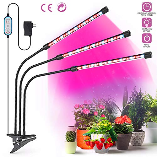 Grow Light for Indoor Plants, OUTAD 27W LED Grow Lamp with Auto ON/Off Timer, Triple Head Gooseneck Plant Lights, 4/8/12H Timer and 8 Dimmable Levels for House Garden Greenhouse Hydroponics Succulent
