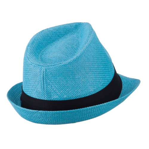 f31f465c72d Pleated Hat Band Straw Fedora Hat - Turquoise OSFM at Amazon Men s Clothing  store
