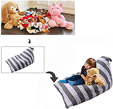 70-80 Stuffed Animals or 200L of Other Filler 100/% Cotton Premium Polyester Teens and Adults X-Large Storage Bean Bag Organizer for Plush Toy Clothes Towels Blankets Bean Bag Seat Chair for Kids