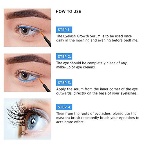 Natural Eyelash Growth Serum and Brow Enhancer to Grow Thicker, Longer Lashes for Long, Luscious Lashes and Eyebrows[3ml] by Terez & Honor (Image #4)