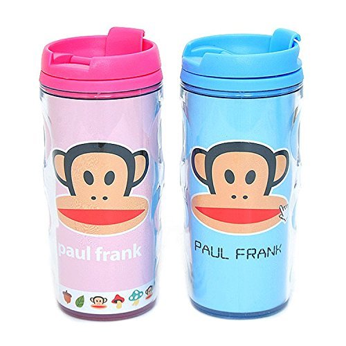 Paul Frank Coffee Tea Travel Mug Cup Flip up Open Lid Tumbler 320ml (blue)