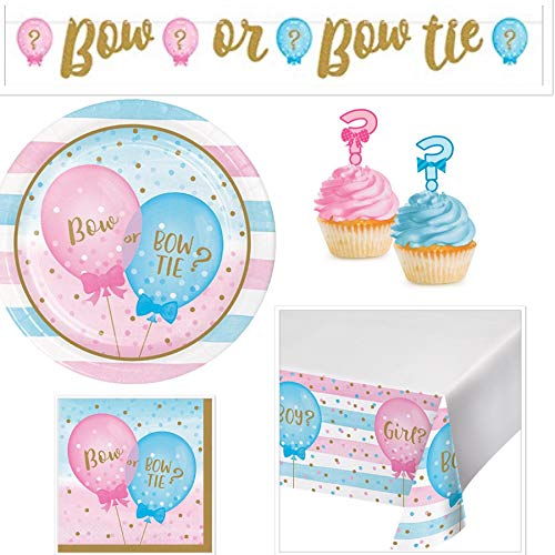 - Olive Occasions Gender Reveal Party Supplies Serves 16 Bow or Bow Tie Plates, Napkins, Banner, Table Cover, Cupcake Toppers
