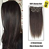 SHOWJARLLY Straight Remy Clip in Human Hair 7pcs/set Full Head Clip in Hair Extensions 70g-120g 20 Inch Double Weft Human Hair Extensions #2 Dark Brown