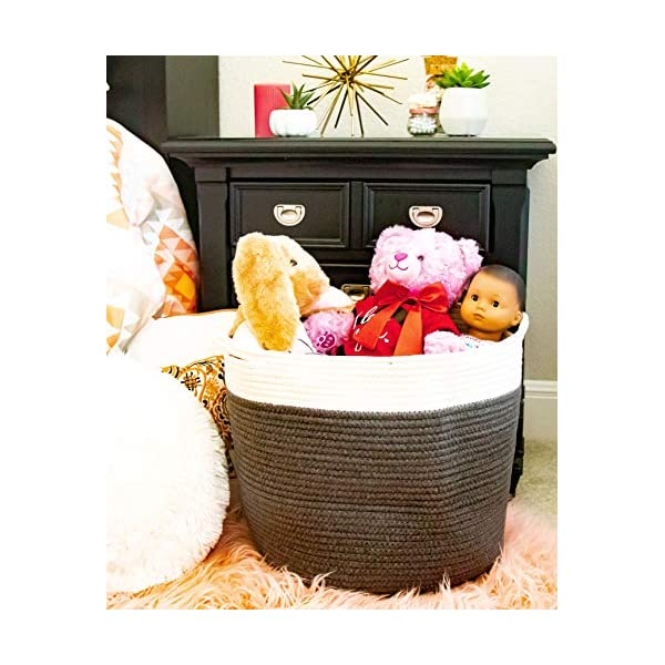 Your Lifestyle Living Large Cotton Rope Basket for Laundry with Handles/Toy Storage/Baby Blanket Bins/Soft Hampers/Organization Basket/Room Bin/Nursery Hamper Baskets/for Throw Pillows