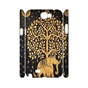 ZK-SXH - Tribal Elephant Pattern Customized 3D Hard Back Case for Samsung Galaxy Note 2 N7100, Tribal Elephant Pattern Custom 3D Case