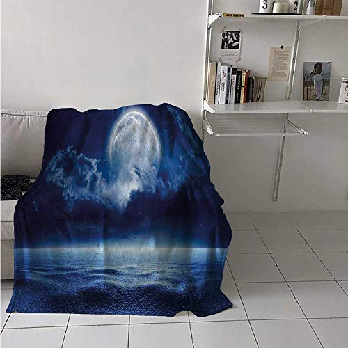 maisi Moon Digital Printing Blanket Full Moon with Calm Sea and Clouds Nature Image Design Cold Winter Night Sky Summer Quilt Comforter 62x60 Inch Navy Blue - Sea Royal Navy King