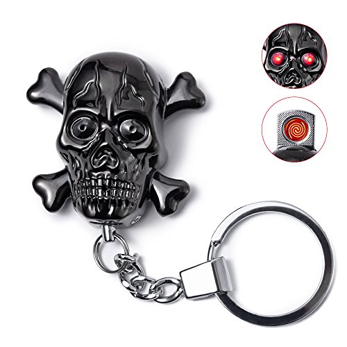 Price comparison product image Keychain Electric Cigarette Lighter,  Unique Skull Windproof Flameless USB Rechargeable Lighter with LED Light and Creepy Sound,  Perfect Gift Idea for Halloween,  Christmas or Business (Black)