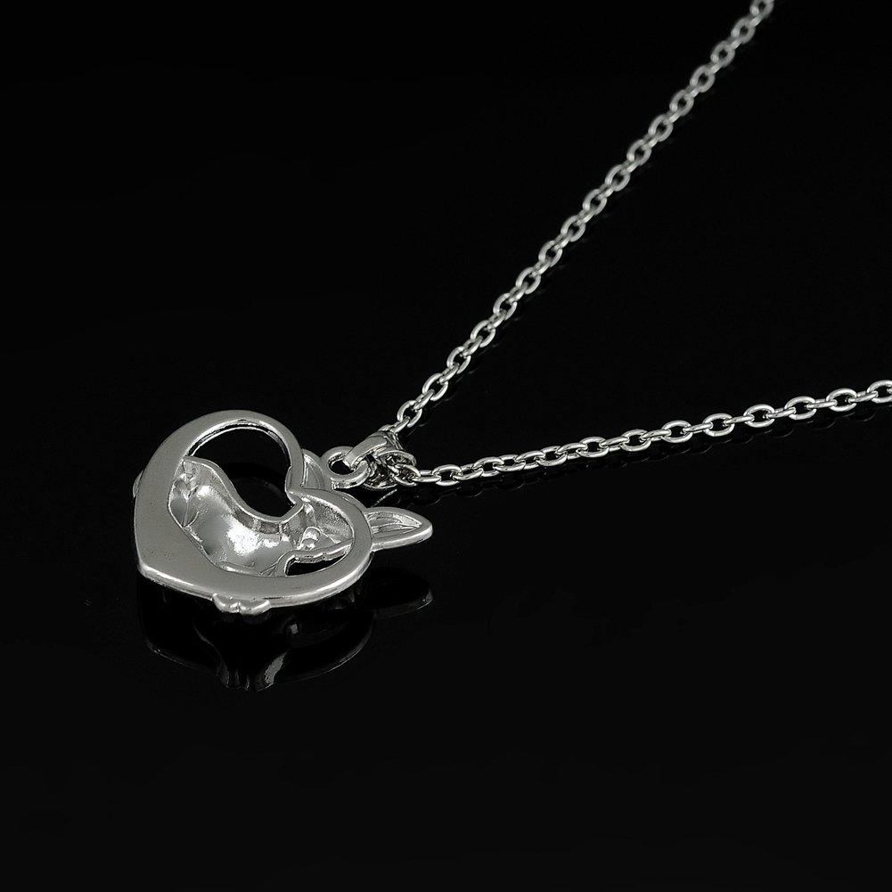 fishhook Chihuahua Herz Anh/änger Halskette f/ür Menschen und Tierliebhaber Silber