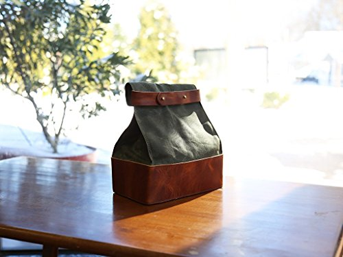 Horween leather Lunch Box Leather Lunch Bag by OleksynPrannyk