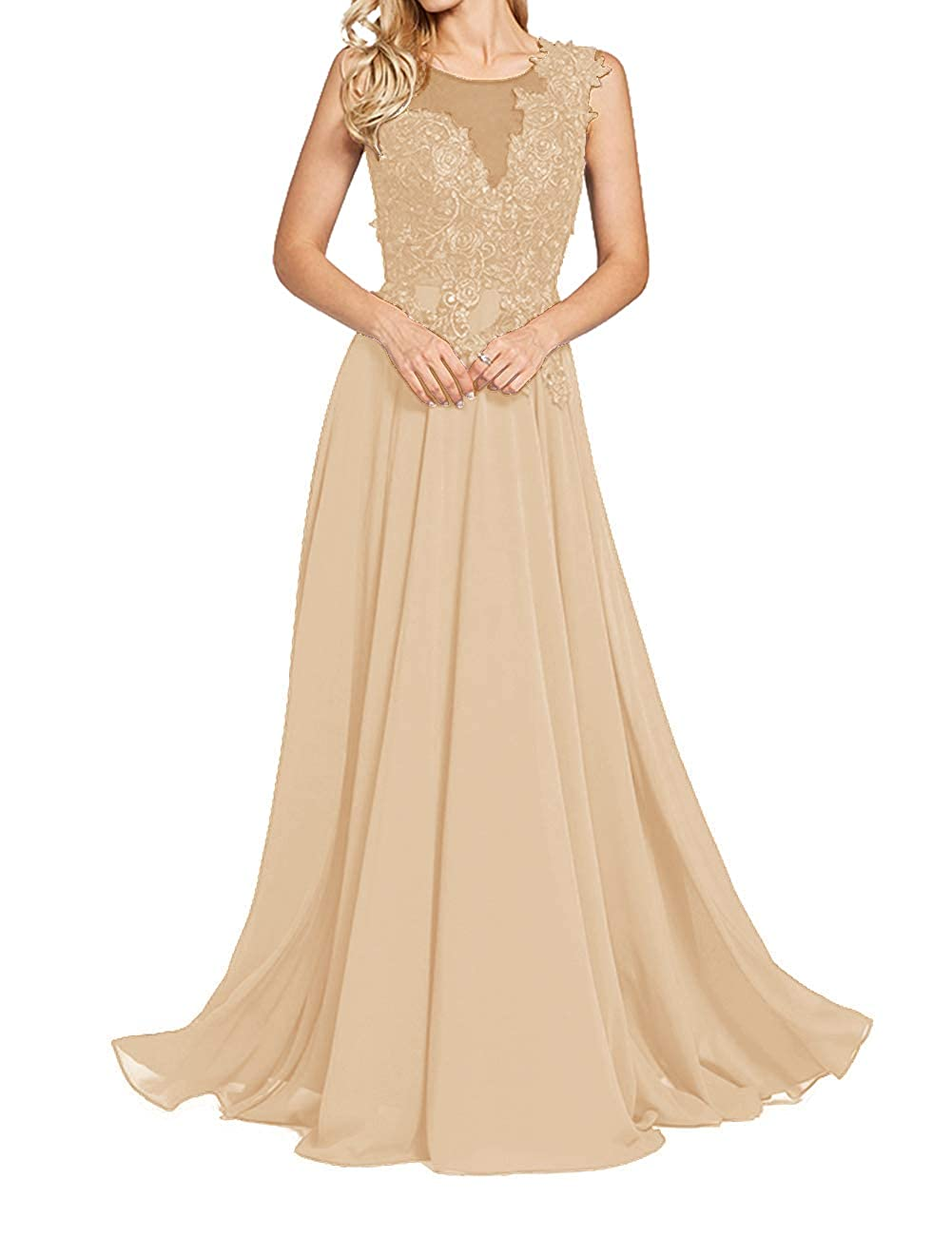 Champagne Uther Formal Evening Prom Dresses Long Appliques Bridesmaid Dress for Women Sleeveless