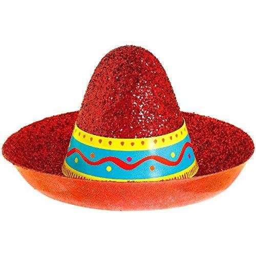 Cinco De Mayo Fiesta Party Mini Sombrero Glitter Hat Accessories, Plastic, 2