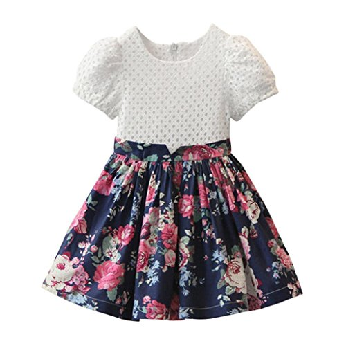 Floralby Baby Kids Girls Princess Party Dress Pageant Short Puff Sleeve Flower Dress ()