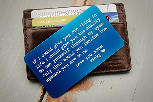 Custom Wallet Card, Personalized Engraved Wallet Insert, Personalized Wallet Card, Mini Love Note, Metal Wallet Card - Anniversary, Valentine's Day, Father's Day, Groom's Gift For (Wallet Note Cards)