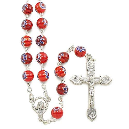 Murano Rosary Crucifix - Red Murano Beads Rosary