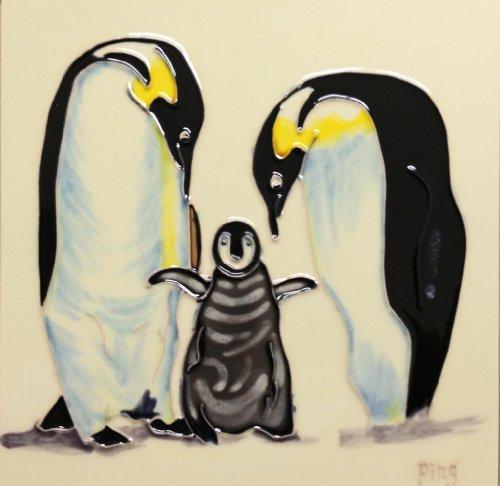 Continental Art Center BD-0377 8 by 8-Inch Penguin Family Ceramic Art (Penguin Tile)