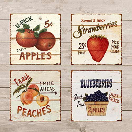 (Barnyard Designs Fruit Tin Sign Bundle - Strawberries, Blueberries, Peaches &)