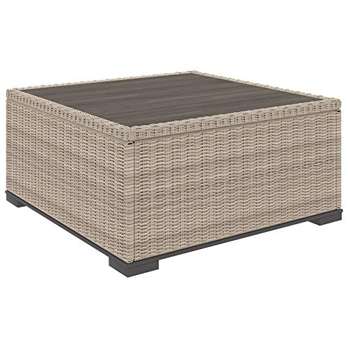 Ashley Furniture Signature Design - Silent Brook Outdoor Square Cocktail Table - Resin Wicker - Wood-Look Resin Top - Beige