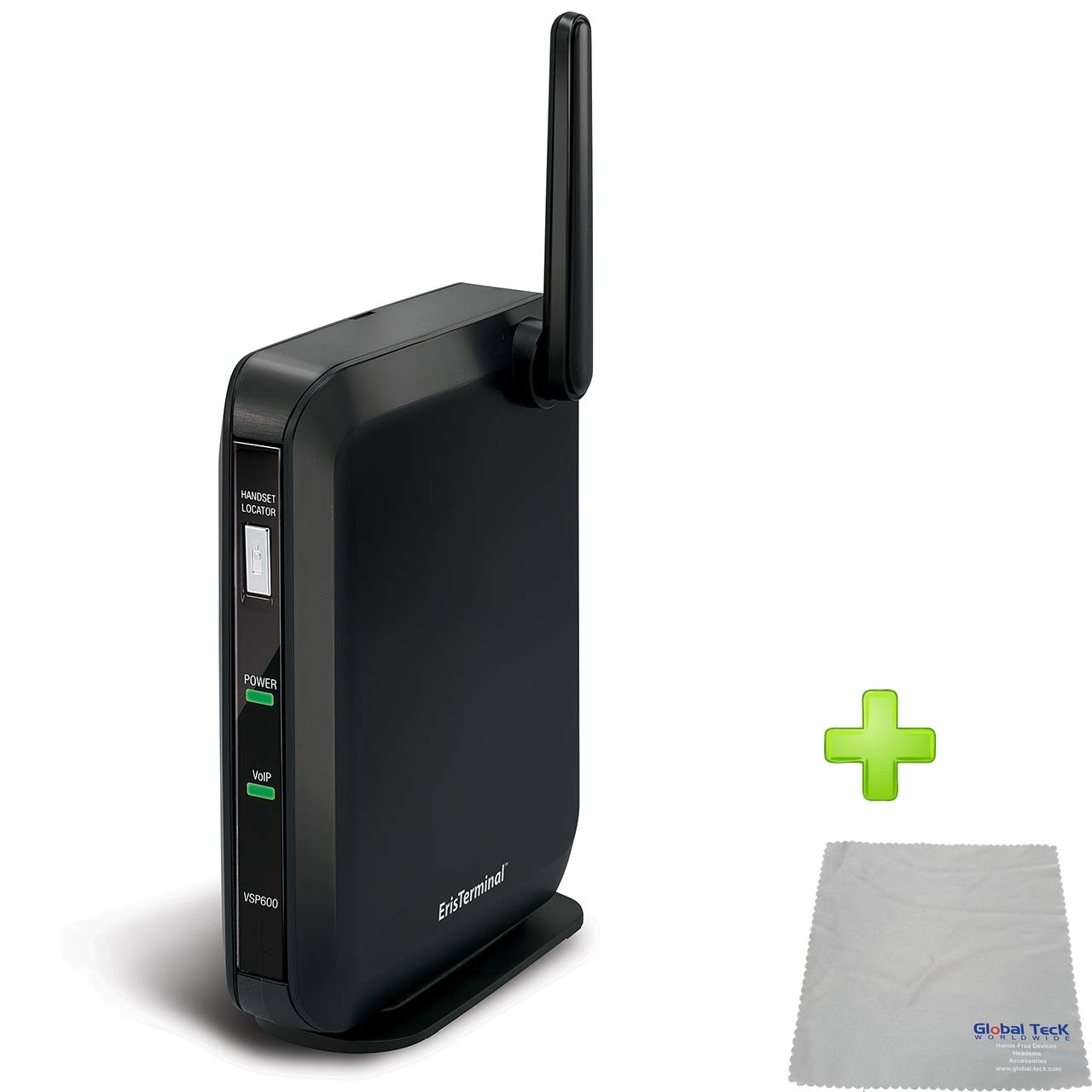 Global Teck Bundle of Vtech VSP600 IP DECT Base, Compatible with VSP601 and VSP608 Phones, Requires VoIP Service - Fuze, RingCentral, Vonage, 8x8 | with Microfiber Cleaning Cloth by Global Teck Worldwide