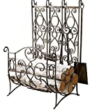 French Scroll Brass Iron Log Rack with 4 piece Tool Set