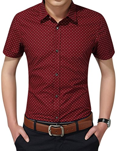 Yiwa Mens Short Sleeve Casual Slim Tops Floral Print Cotton - Mall Macy's