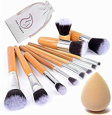 Start Makers 11 unidades Lote de Brochas y Pinceles de Maquillaje con mango de bambú y Esponja para maquillar, incluido el estuche: Amazon.es: Belleza
