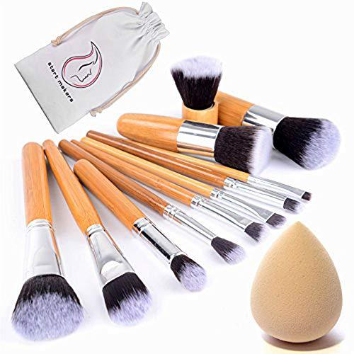 Start Makers Bamboo Makeup Brushes -12pcs Natural Make up Brushes – Vegan Make up Brush Set -Pro Cosmetics Kabuki Brush – Makeup Brushes Sets – Extremely Soft Makeup Brush Set – Beauty Makeup Sponge