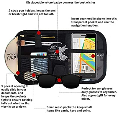 Car Sun Visor Organizer, Auto Interior Accessories Pocket Organizer, Registration And Document Holder, Personal Belonging Storage Pouch Organizer, Interior Accessories Pocket Organizer: Automotive