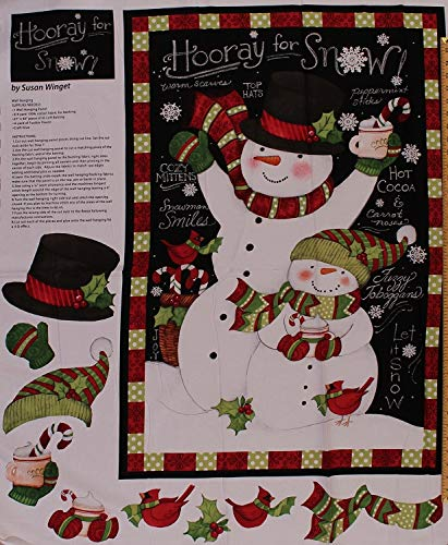 """Used, 36"""" X 44"""" Panel Hooray for Snow Snowman Christmas Winter for sale  Delivered anywhere in USA"""