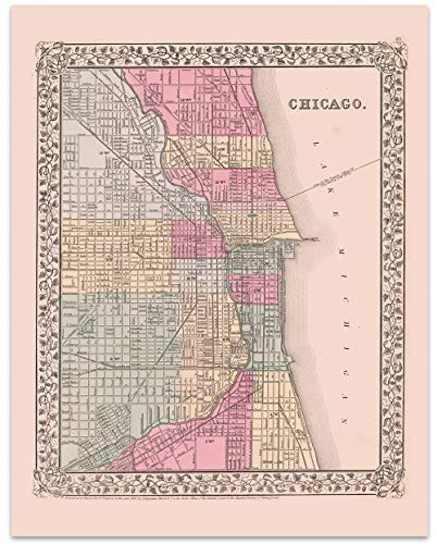 Chicago Vintage Map Circa 1867-11 x 14 Unframed Print - Great Housewarming Gift. Chicago Themed Office Decor. Great Gift for a Real Estate Agent or Developer. Chicago Bar - 1867 Map Illinois