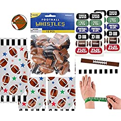 Football Party Favors for 12 - Football Slap Bands (12), Football Whistles (12), Football Face Tattoos (12 Sheets), Football Theme Treat Bags and a Football Birthday Sticker