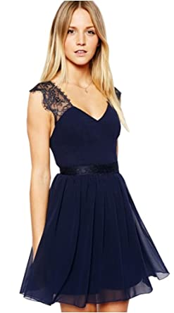 Women Chiffon Navy Blue V Neck Backless Lace Strap Party Short Dress (M)