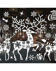 GmeDhc Merry Christmas Window Stickers, Kerst Window Stickers, Witte Kerst Decoraties, Kerst Stickers voor Vensters, Witte Kerst Window Stickers voor Kerst Window Display