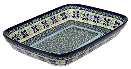 Polish Pottery Baking Dish 8 Inch X 10 Inch From Zaklady Ceramiczne Boleslawiec 370-du121 Unikat Pattern