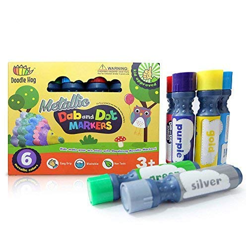 (Dab and Dot Markers Metallic 6 Pack in Silver, Red, Gold, Blue, Green and)