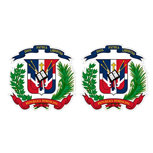 Dominican Coat Of Arms - Two Pack Dominican Coat of Arms Stickers FA Graphix