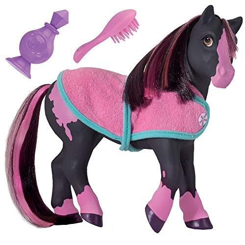 """Breyer Color Changing Bath Toy, Jasmine the Horse, Black / Pink with Surprise White Color,  7"""" x 7.5"""""""