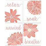Relax, Soak, Unwind, Breathe Pink Coral & White Bath Flower Poster Prints, Set of 4 (8x10) Unframed Photos, Wall Art Decor Gifts Under 20 for College, Home, Studio, Student, Teacher, Floral Fan