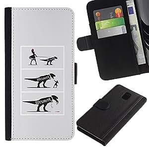 Samsung Galaxy Note 3 III N9000 N9002 N9005 , la tarjeta de Crédito Slots PU Funda de cuero Monedero caso cubierta de piel (Funny - Dinosaur Comic)