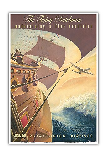 Pacifica Island Art Royal Dutch Airlines KLM - The Flying Dutchman - Maintaining a Fine Tradition - Vintage Airline Travel Poster by Leendert Spierenburg c.1956 - Master Art Print - 13in x 19in