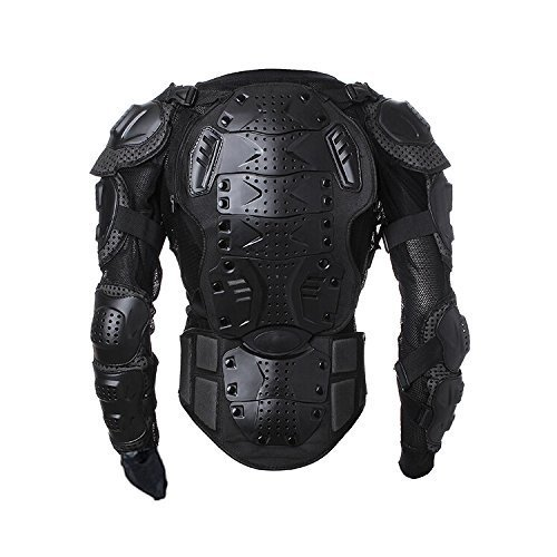 Goldfox Men's Motorbike Motorcycle Protective Body Armour Armor Jacket Guard Bike Bicycle Cycling Riding Biker Motocross Gear Black (Large)
