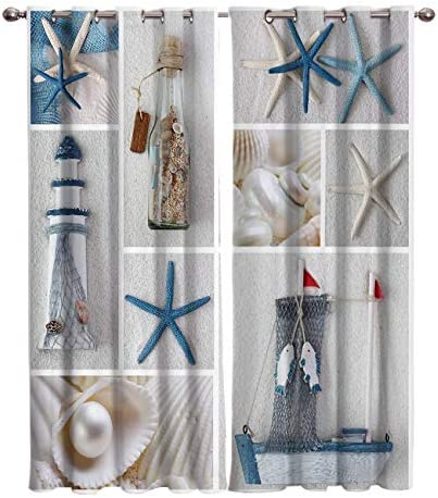 Beach Seashell Kitchen Cafe Curtains Window Drapes Treatment Durable Polyester 104W x 96L inch