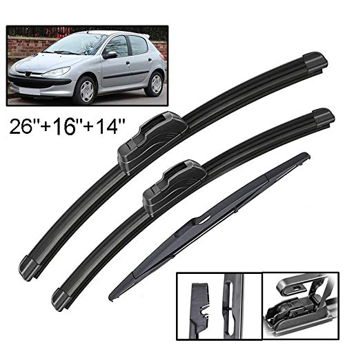 Xukey Front + Rear Windshield Wiper Blades Set Fit For Peugeot 206 Hatchback 2001-2006(Set of 3)