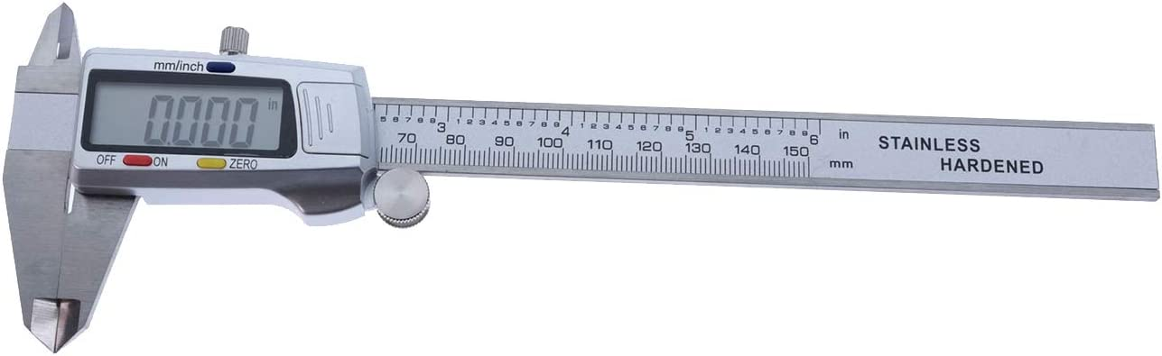 Electronic Digital Vernier Caliper Durable 0-6//150 mm Display Inch//Metric Stainless Steel Body Extra Large LCD Screen Auto Off Featured Measuring Tool Inch Fractions Milimeter Conversion